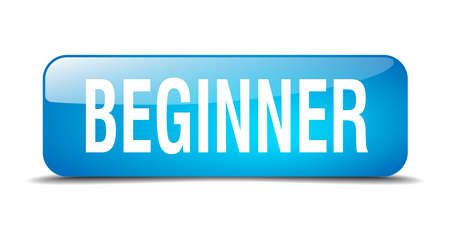 beginner: beginner blue square 3d realistic isolated web button Illustration
