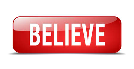 believe: believe red square 3d realistic isolated web button
