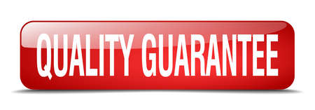 quality guarantee: quality guarantee red square 3d realistic isolated web button Illustration