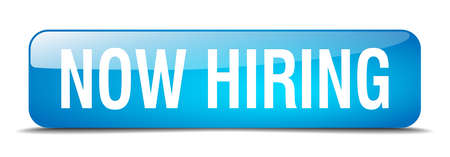 now hiring: now hiring blue square 3d realistic isolated web button