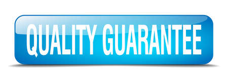 quality guarantee: quality guarantee blue square 3d realistic isolated web button