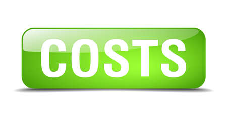costs: costs green square 3d realistic isolated web button Illustration