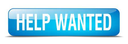 help wanted sign: ayudar bot�n querido cuadrado azul 3d realista aislada web Vectores