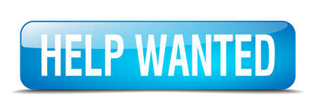 help wanted: help wanted blue square 3d realistic isolated web button
