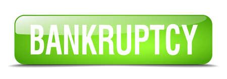 faillite: Green Square 3d r�aliste bouton web isol�e de la faillite Illustration
