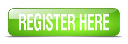 Registrieren Sie sich hier grünes Quadrat 3d realistisch isoliert Web-Taste