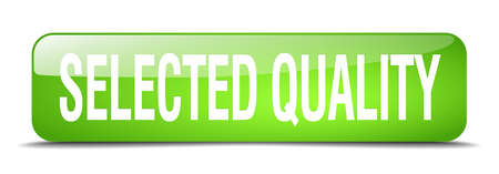 selected: selected quality green square 3d realistic isolated web button Illustration