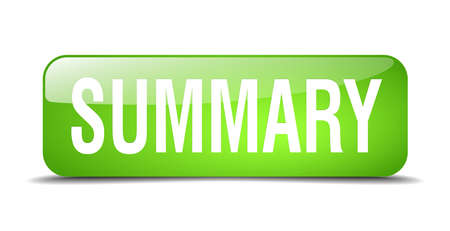 summary: summary green square 3d realistic isolated web button