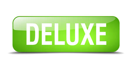 deluxe: deluxe green square 3d realistic isolated web button