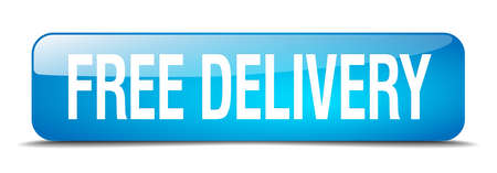 free delivery: free delivery blue square 3d realistic isolated web button Illustration