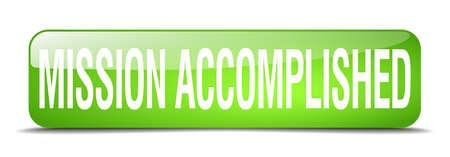 accomplish: mission accomplished green square 3d realistic isolated web button