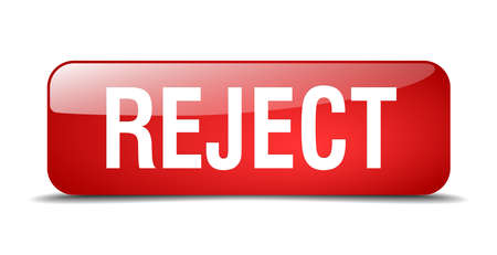 reject: reject red square 3d realistic isolated web button