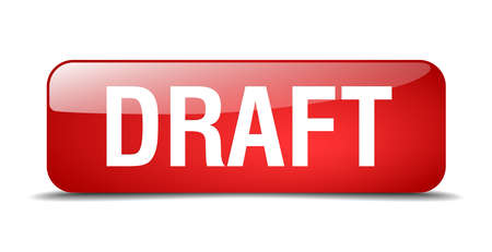 draft: draft red square 3d realistic isolated web button