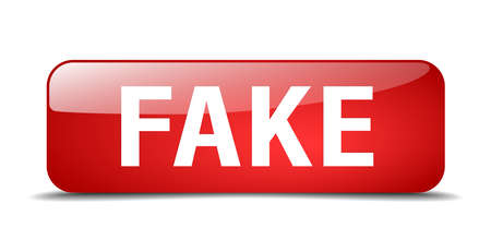 fake: fake red square 3d realistic isolated web button Illustration