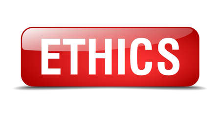 ethics: ethics red square 3d realistic isolated web button Illustration