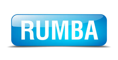 rumba: rumba blue square 3d realistic isolated web button