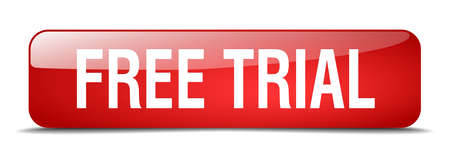 free sign: free trial red square 3d realistic isolated web button