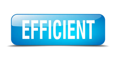 efficient: efficient blue square 3d realistic isolated web button Illustration