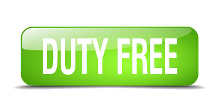 duty free: duty free green square 3d realistic isolated web button