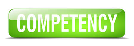 competency: competency green square 3d realistic isolated web button Illustration