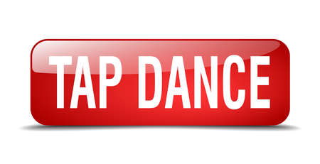 3d dance: tap dance red square 3d realistic isolated web button