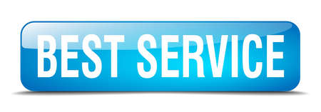 best service: best service blue square 3d realistic isolated web button