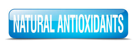 antioxidants: natural antioxidants blue square 3d realistic isolated web button