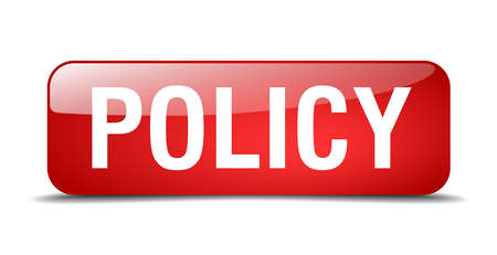 policy red square 3d realistic isolated web button Çizim