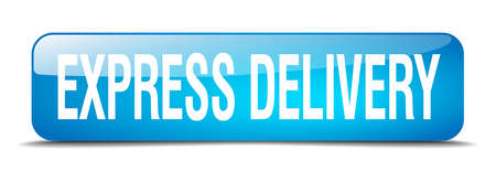 express delivery: express delivery blue square 3d realistic isolated web button