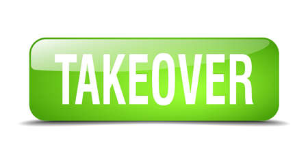 takeover: takeover green square 3d realistic isolated web button