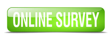 online survey: online survey green square 3d realistic isolated web button Illustration