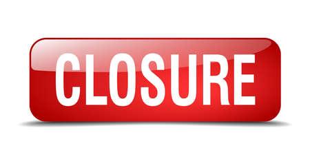 closure: closure red square 3d realistic isolated web button Illustration