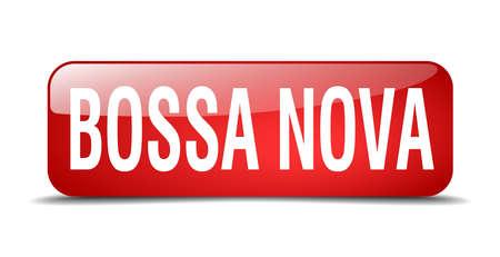 nova: bossa nova red square 3d realistic isolated web button