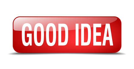 goed idee: goed idee rode 3d realistische geïsoleerde web knop square Stock Illustratie