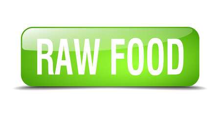 raw food: raw food green square 3d realistic isolated web button Illustration
