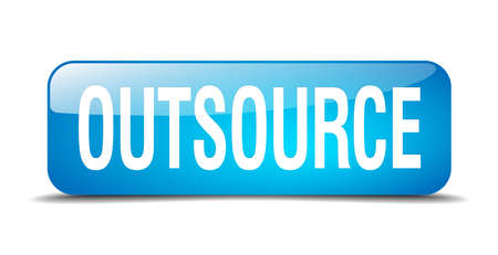 outsource: outsource blue square 3d realistic isolated web button