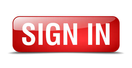 sign in: sign in red square 3d realistic isolated web button Illustration