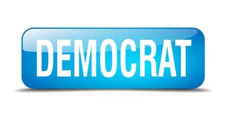democrats: bot�n dem�crata cuadrado azul 3d realista aislada web