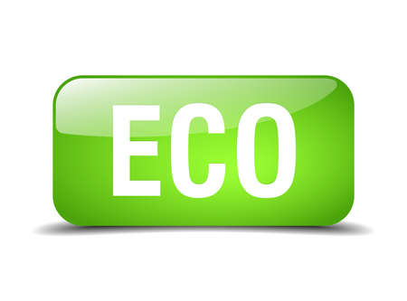 eco notice: eco green square 3d realistic isolated web button