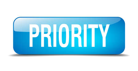 priority: priority blue square 3d realistic isolated web button Illustration