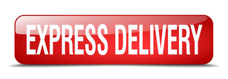 express delivery: express delivery red square 3d realistic isolated web button Illustration