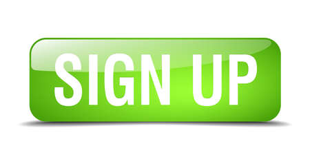 sign up green square 3d realistic isolated web button Illustration