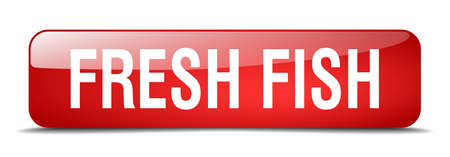 fresh fish: fresh fish red square 3d realistic isolated web button