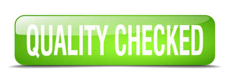 checked: quality checked green square 3d realistic isolated web button Illustration