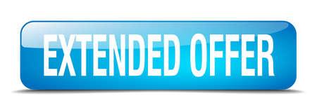 estendido: extended offer blue square 3d realistic isolated web button Ilustração
