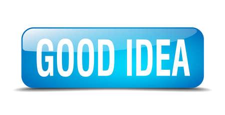 goed idee: goed idee blauwe 3d realistische geïsoleerde web knop square Stock Illustratie