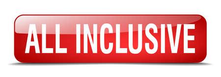 inclusive: all inclusive red square 3d realistic isolated web button Illustration