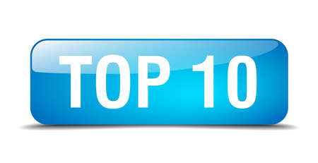 top 10: top 10 blue square 3d realistic isolated web button Illustration