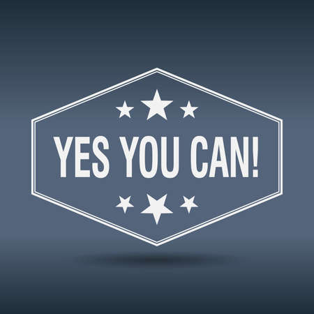 can yes you can: yes you can! hexagonal white vintage retro style label