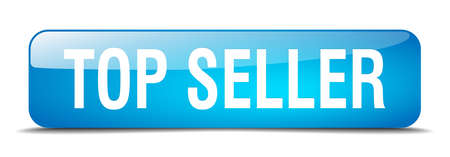 top seller: top seller blue square 3d realistic isolated web button Illustration